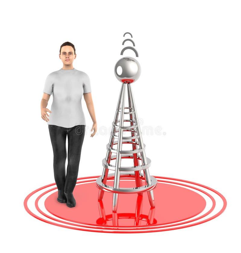 характер 3d, женщина, беспроволочная башня и свои сигналы иллюстрация вектора