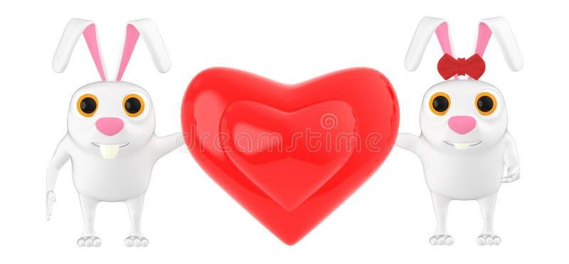 характер 3d, кролик, мужчина и женщина с влюбленностью подписывают/знак формы сердца бесплатная иллюстрация