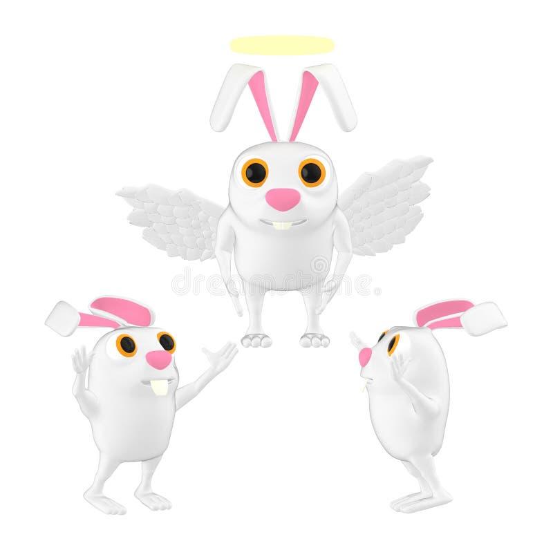 характер 3d, летание кролика ангела с накаляя кольцом над верхней частью его головы и другие кролики счастливые на земле иллюстрация штока