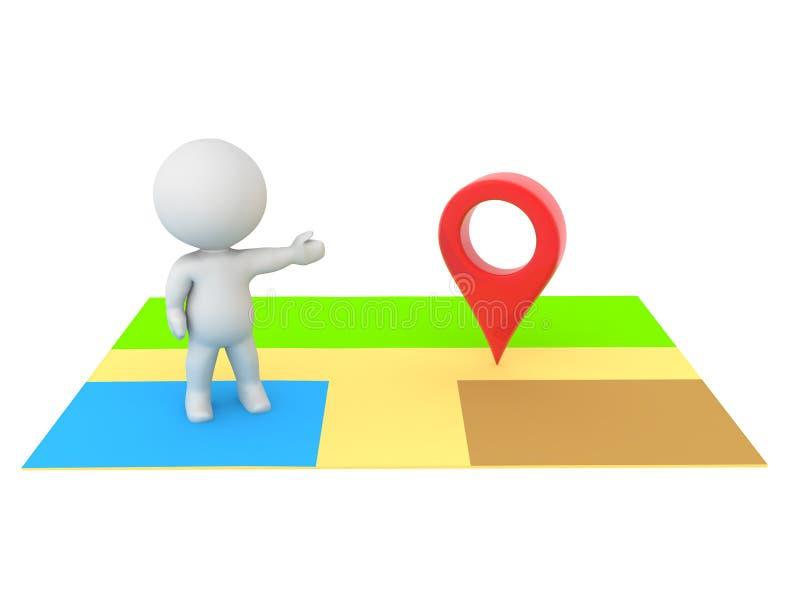 характер 3D на карте онлайн показывая штырь положения иллюстрация вектора