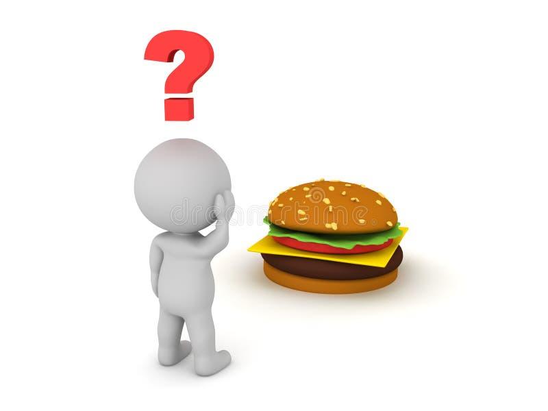 характер 3D не уверен если он хочет есть бургер иллюстрация вектора