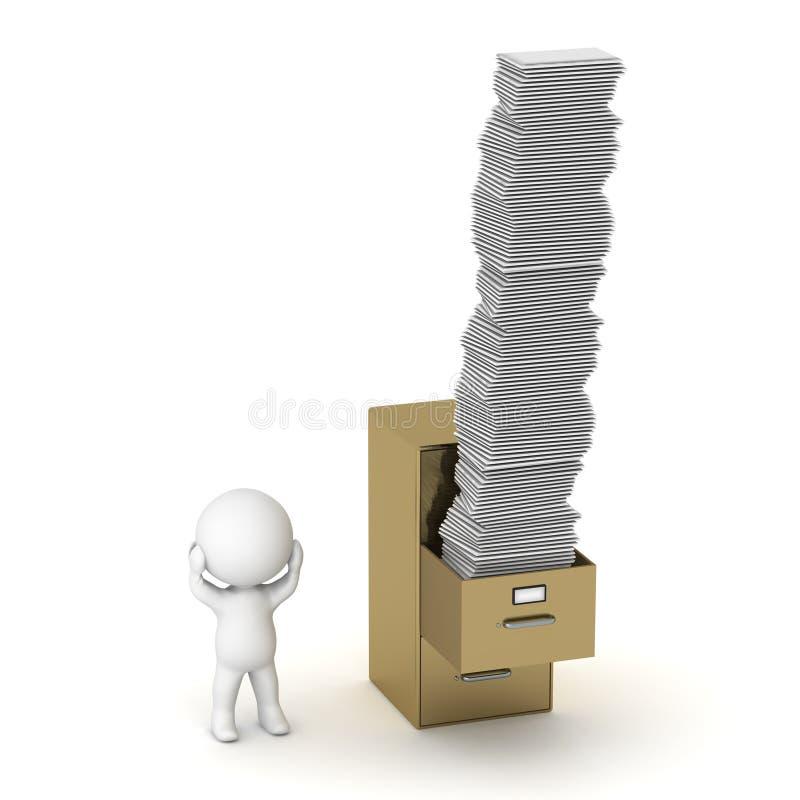 характер 3D с шкафом архива и много бумаг иллюстрация вектора