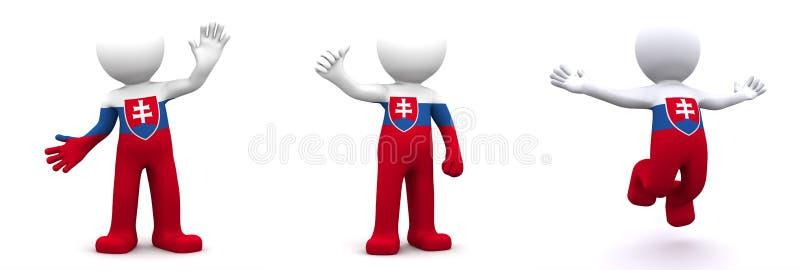 характер 3d текстурированный с флагом Словакии иллюстрация вектора