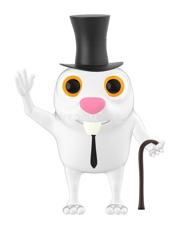 характер 3d, шляпа кролика нося и держать ручку иллюстрация вектора