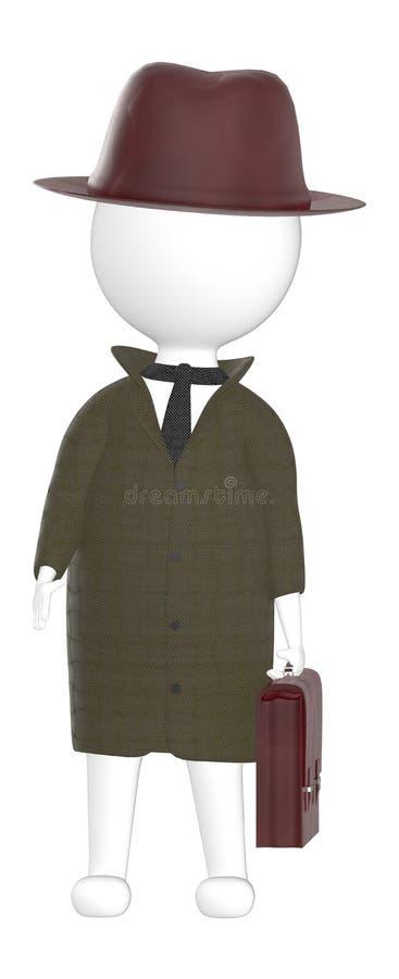 характер 3d, шляпа человека нося, пальто и держать портфель иллюстрация штока