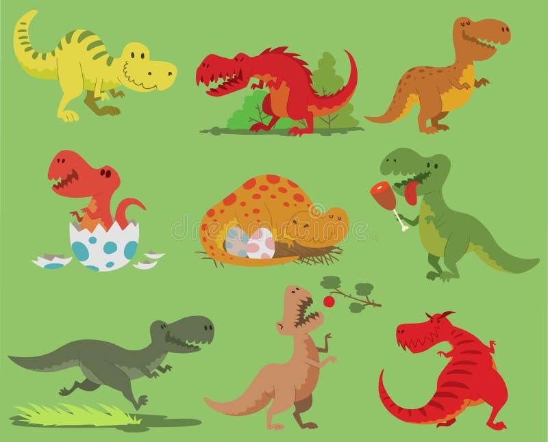 Характер dino rex тиранозавра динозавра вектора шаржа и комплект иллюстрации юрского tyrannosaur атакуя старого иллюстрация штока