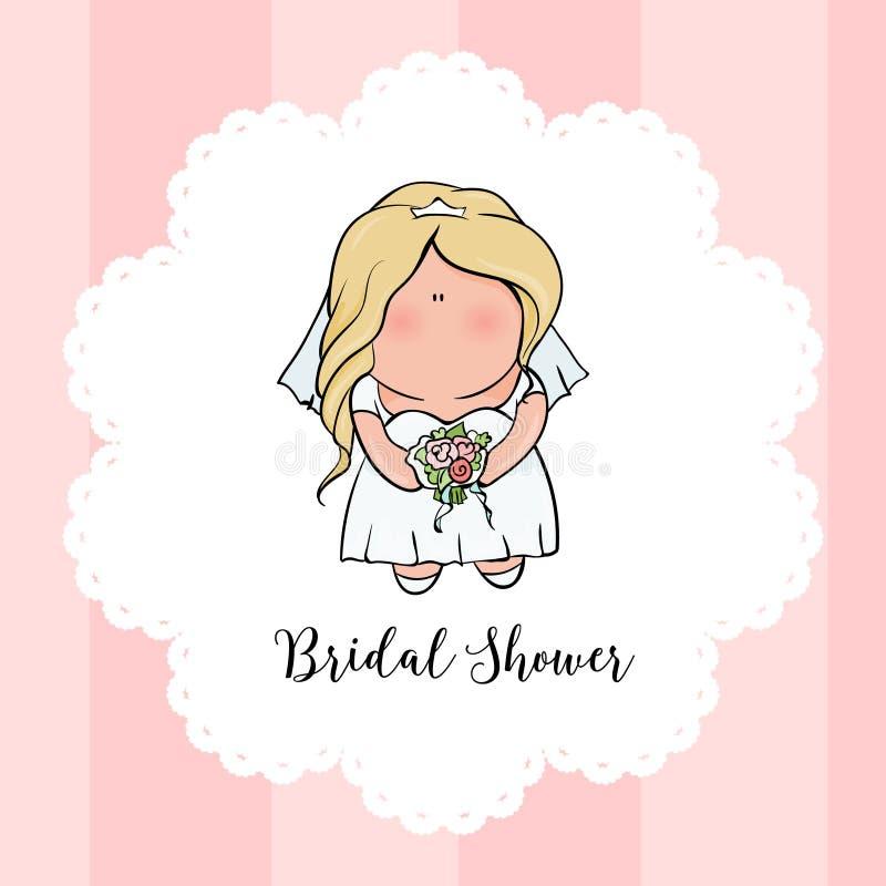 Характер Doodle невеста милая Романтичное объявление для bridal партии ливня Карточка приглашения или поздравления иллюстрация штока