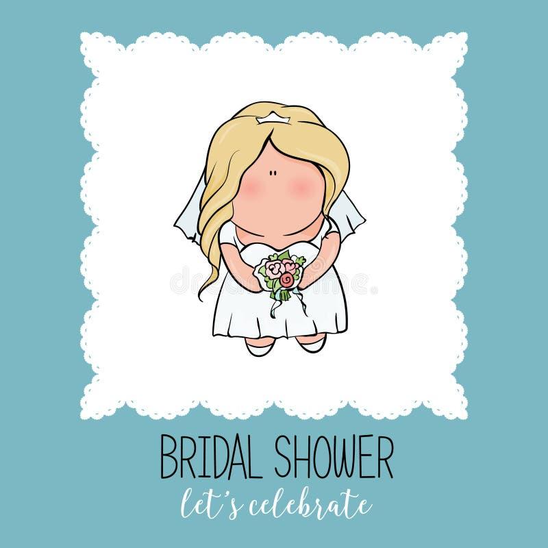 Характер Doodle невеста милая Романтичное объявление для bridal партии ливня карточка приглашения или поздравления в милом иллюстрация штока