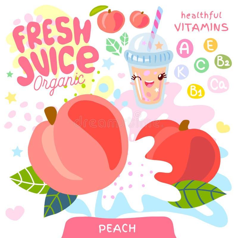 Характер kawaii свежего сока органический стеклянный милый Чашка smoothies йогурта персика r иллюстрация штока
