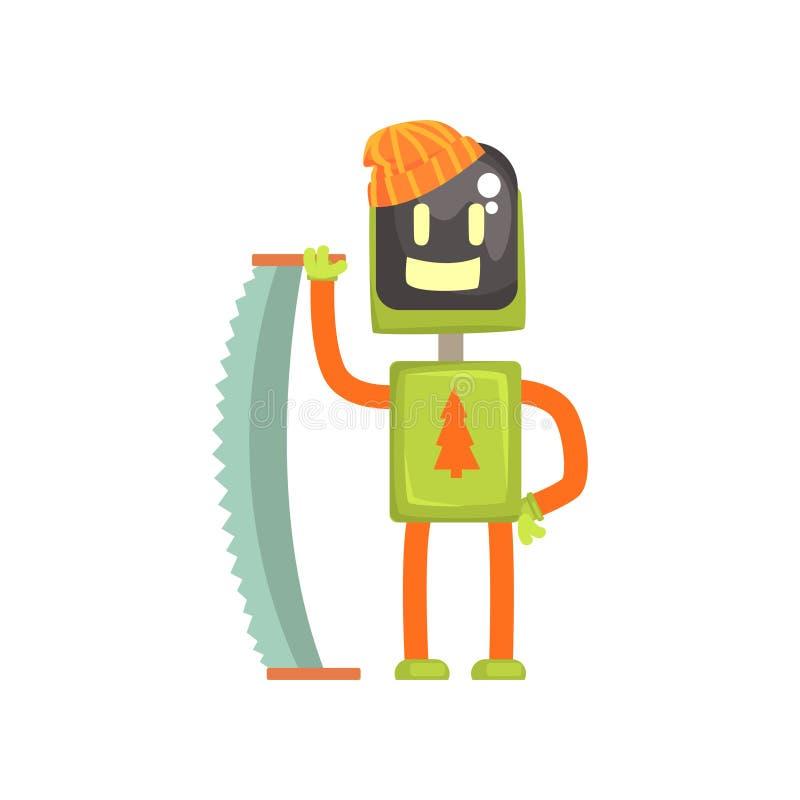 Характер lumberjack робота, андроид с увидел в своей иллюстрации вектора шаржа рук иллюстрация вектора