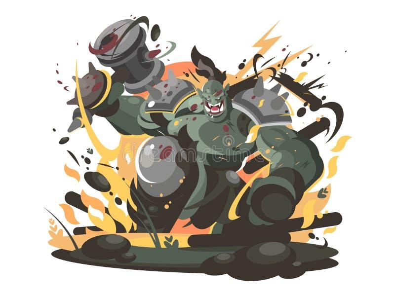 Характер Orc в молотке войны бесплатная иллюстрация