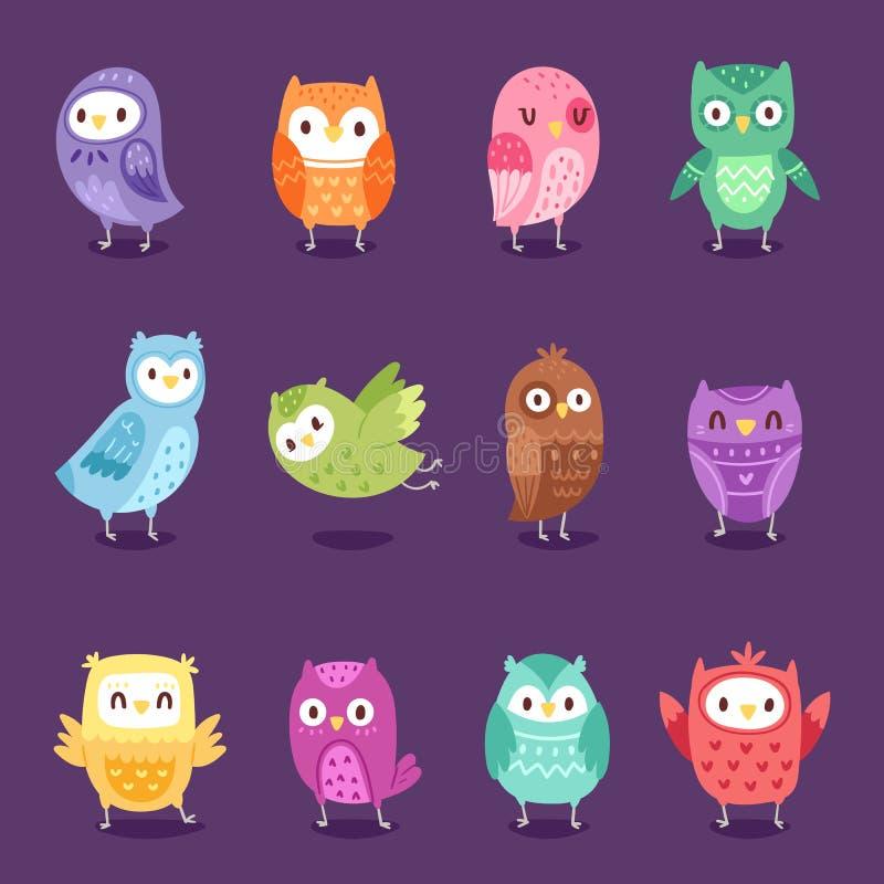 Характер owlet мультфильма вектора сычей ягнится животное искусство младенца для детей иллюстрация установила ребяческой красочно иллюстрация штока