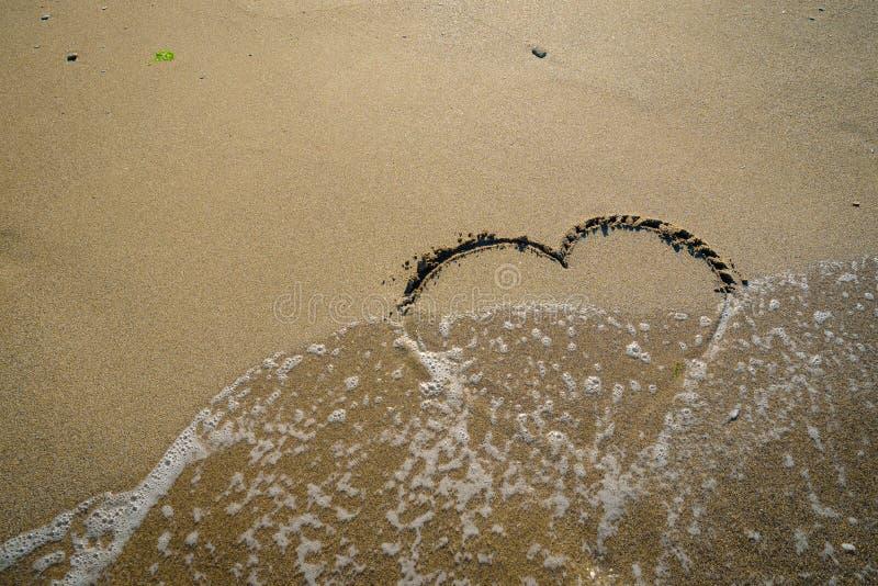 Харт в песке помытом волнами стоковое изображение rf