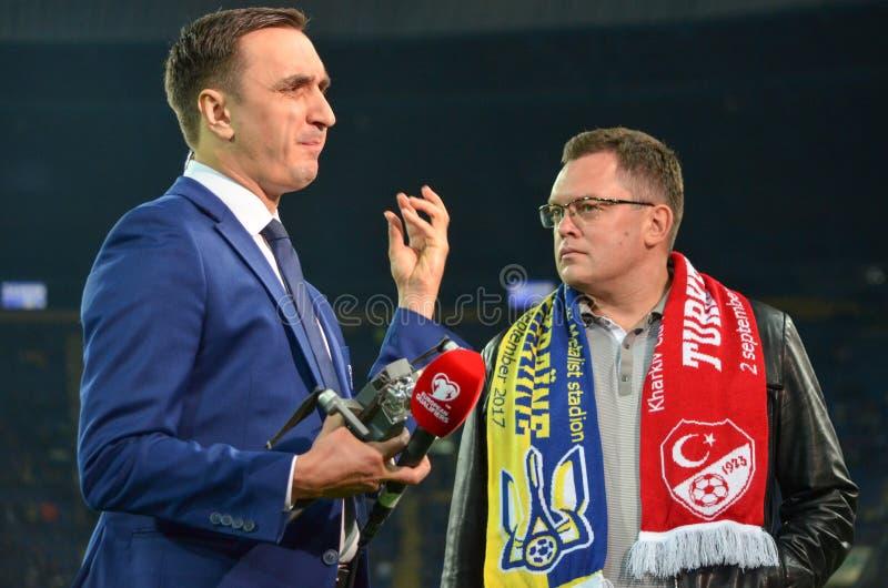 ХАРЬКОВ, УКРАИНА - 2-ое сентября 2017: Руководитель связывает w стоковые фото