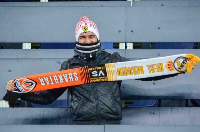 ХАРЬКОВ, УКРАИНА - 23-ЬЕ ФЕВРАЛЯ: Вентиляторы и сторонники Celta de Виго стоковая фотография