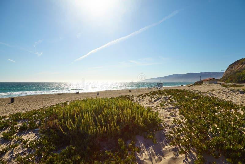 Хата личной охраны на пляже Malibu стоковые изображения rf