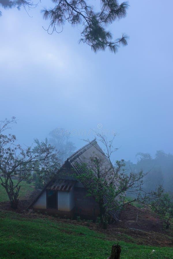 Download Хата на высокой горе и пасмурном утре Стоковое Фото - изображение насчитывающей климат, завод: 40577592