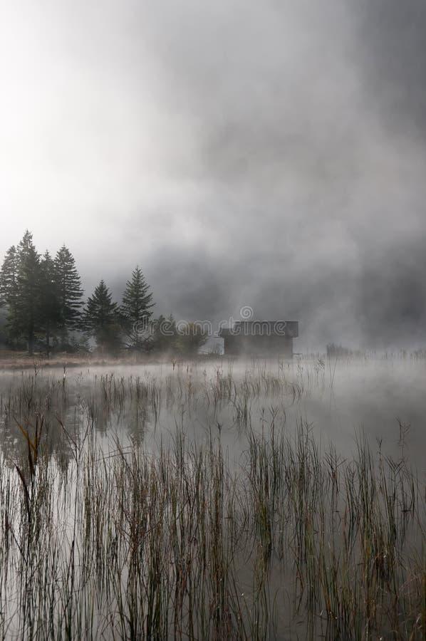 хата тумана осени стоковая фотография