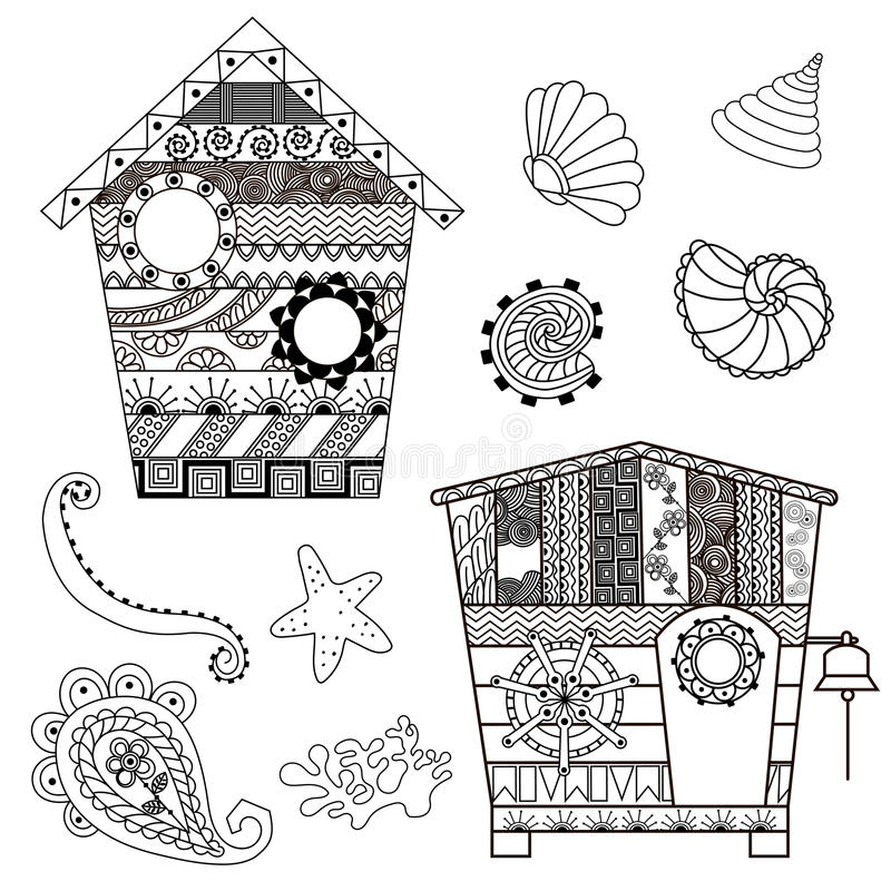 Хаты и seashells пляжа в стиле boho Antistress картина Orie бесплатная иллюстрация