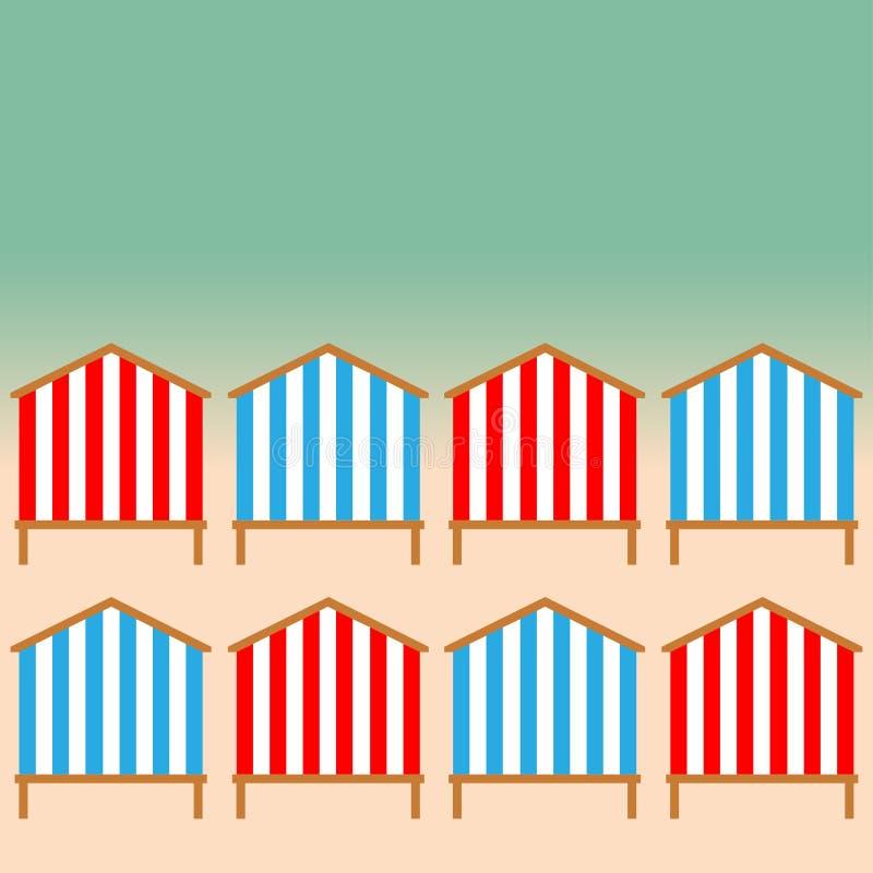 Хаты пляжа на береге моря иллюстрация вектора