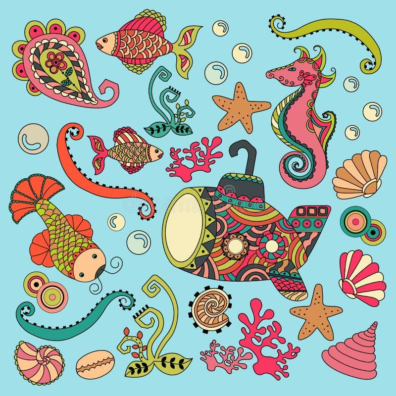 Хаты пляжа на стиле boho Antistress картина Восточные мотивы иллюстрация вектора
