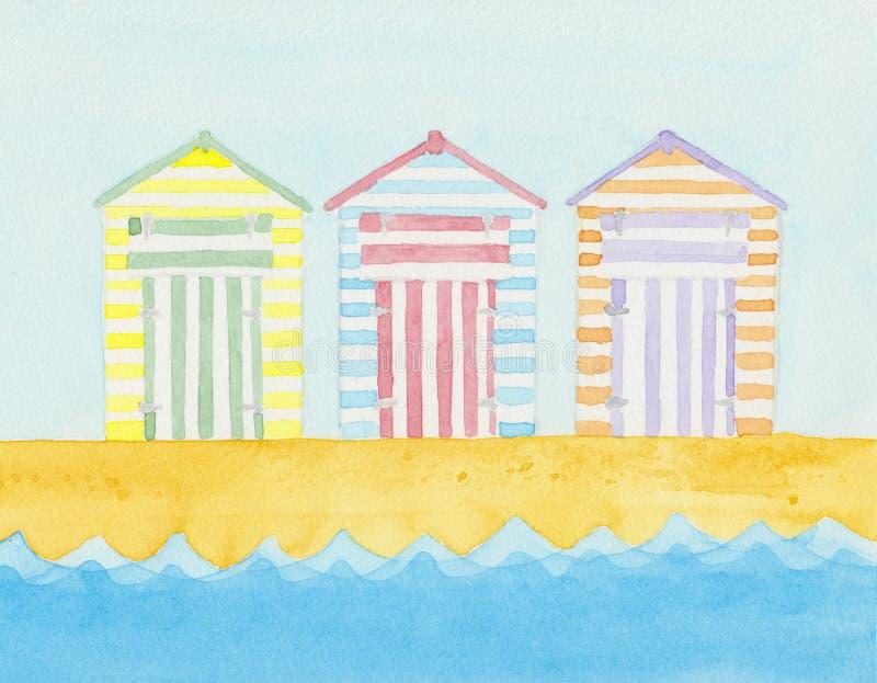 Хаты пляжа около моря иллюстрация штока