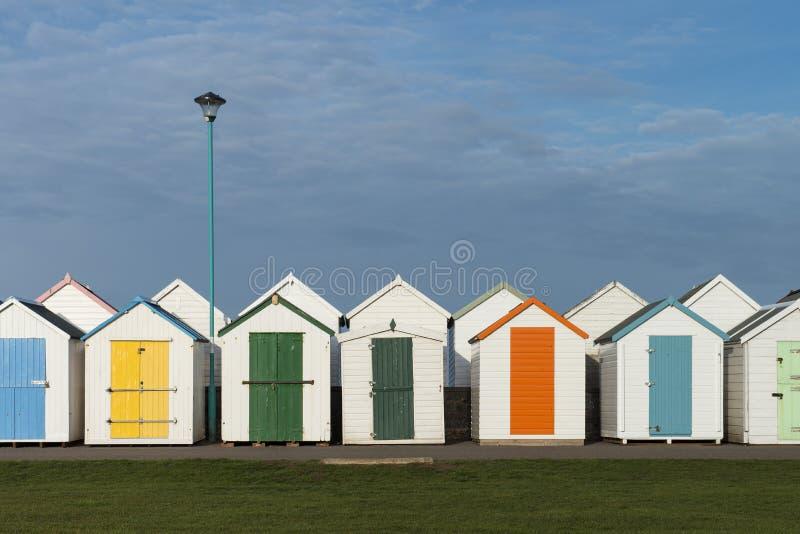 Хаты пляжа Goodrington стоковые изображения rf