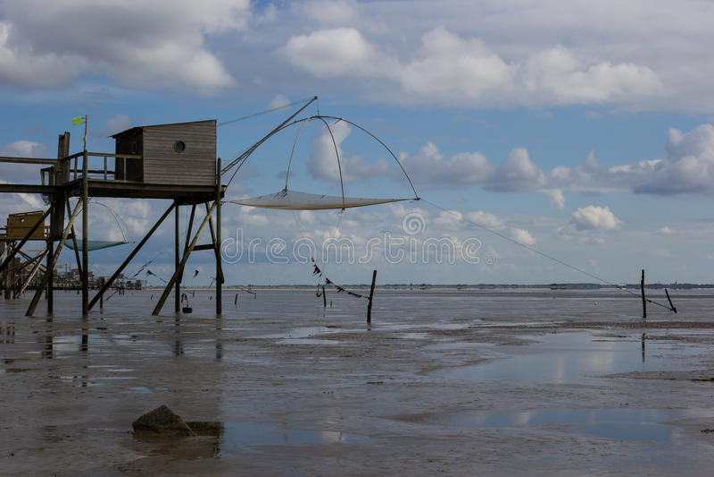 Хаты рыбной ловли в Moutiers-en-Retz Les стоковые фотографии rf