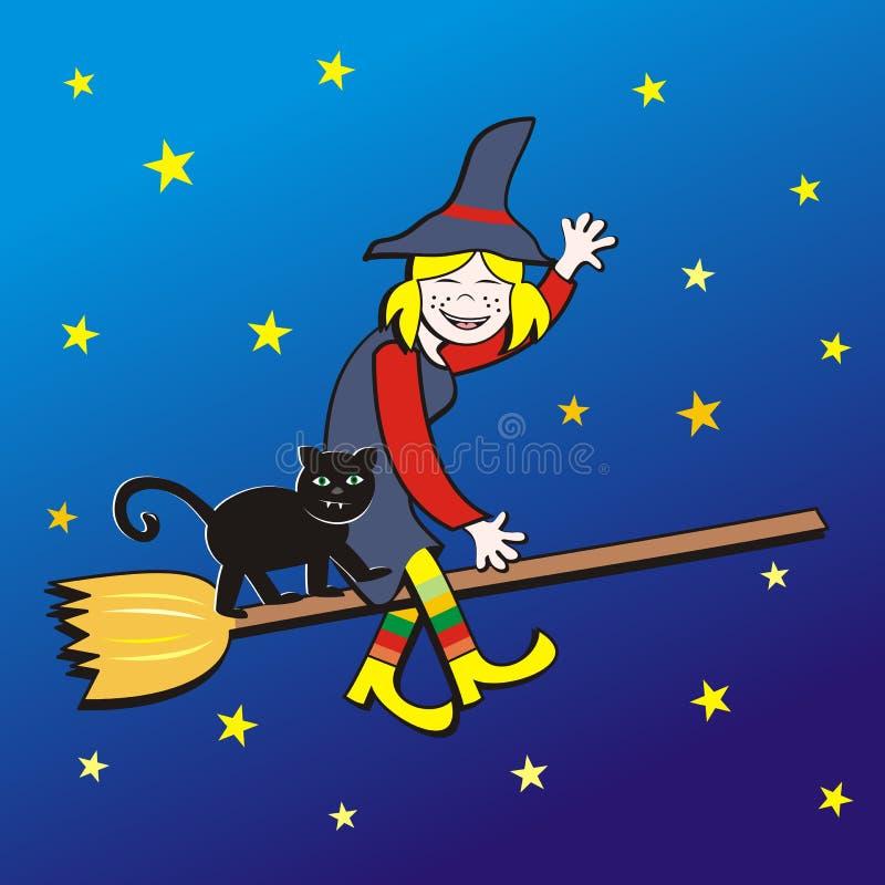 Хеллоуин, ведьма на венике и коте бесплатная иллюстрация