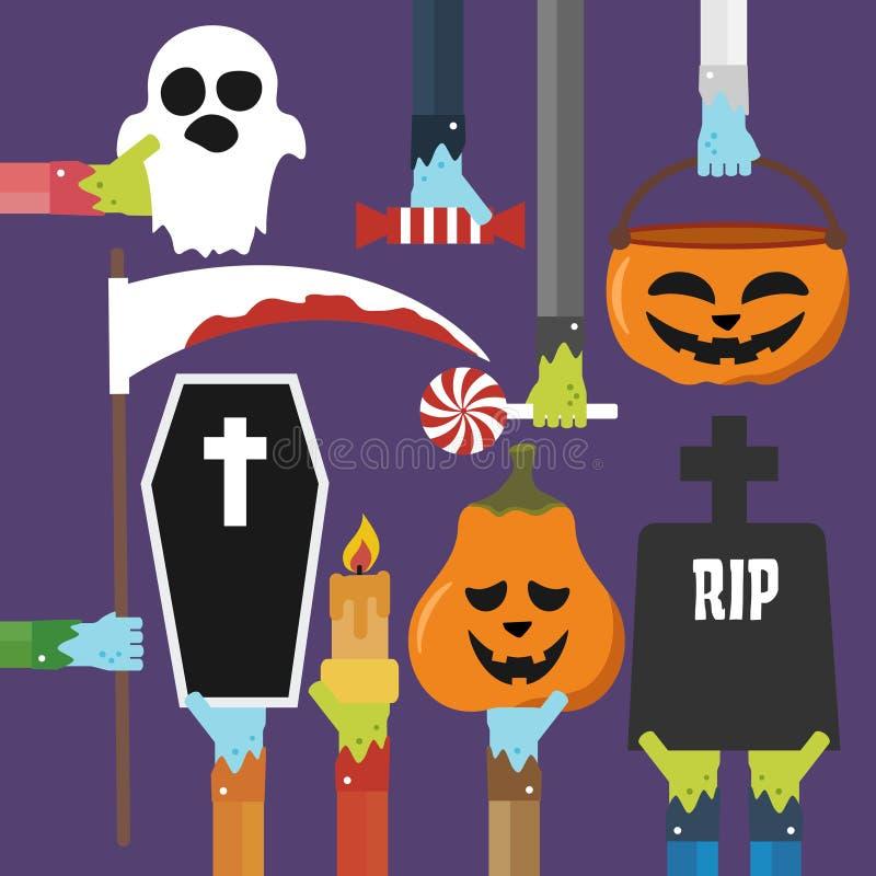 Хеллоуин установил дизайн плоско бесплатная иллюстрация