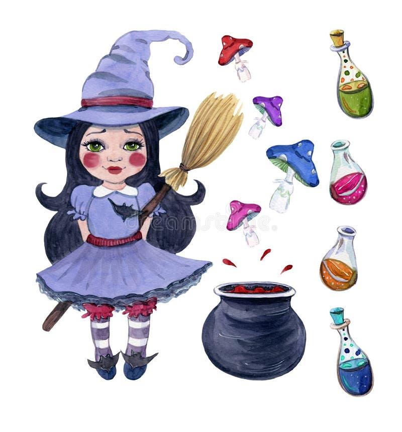 Хеллоуин установил clipart маленькой ведьмы иллюстрация штока