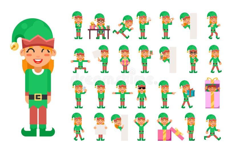 Хелпер Санта Клауса рождества девушки эльфа в различных представлениях и значках характеров действий предназначенных для подростк иллюстрация штока