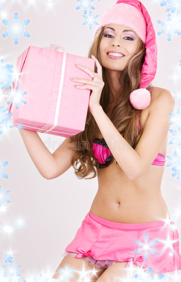 хелпер santa девушки подарка коробки жизнерадостный стоковое изображение rf