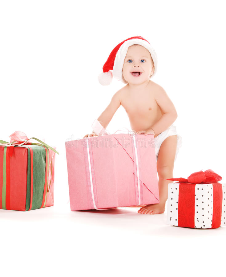 хелпер santa подарков рождества младенца стоковая фотография