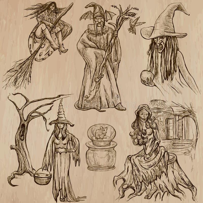 Хеллоуин, ведьмы и волшебники - вручите вычерченный пакет вектора иллюстрация вектора