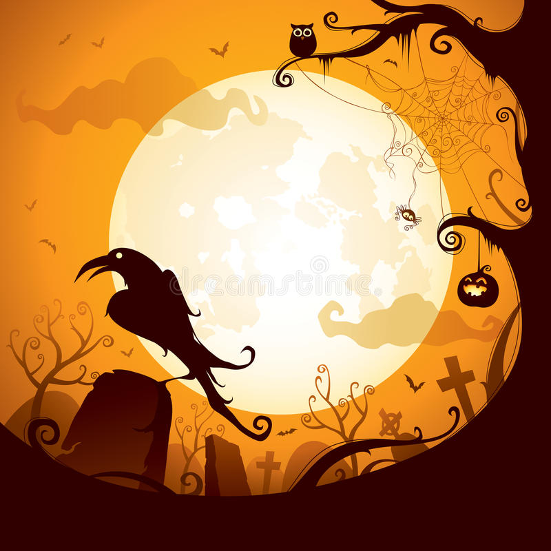 Хеллоуин - ворона на погосте иллюстрация вектора