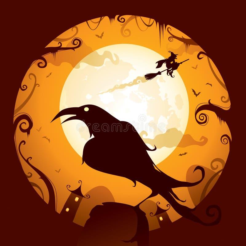 Хеллоуин - ворона иллюстрация вектора