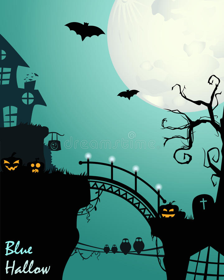 Хеллоуин в сини иллюстрация вектора
