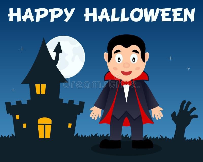 Хеллоуин Дракула и преследовать дом иллюстрация вектора