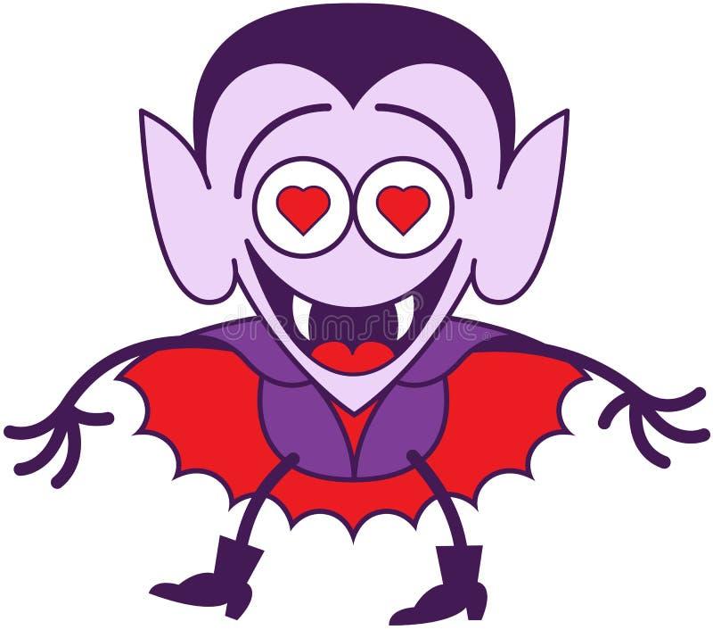 Хеллоуин Дракула чувствуя сумашедше в влюбленности иллюстрация вектора