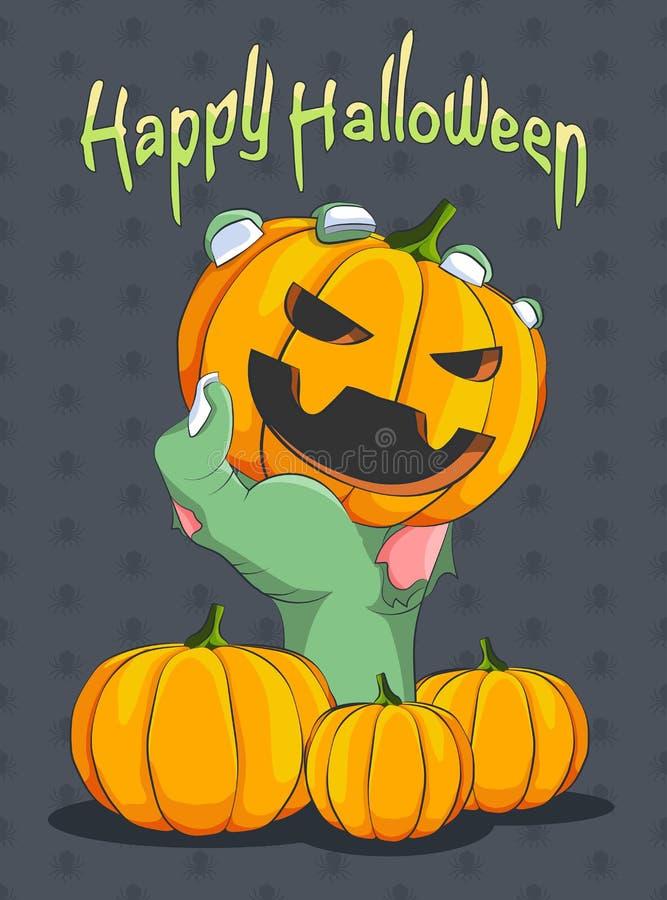 Хеллоуин и Zombie's вручают задерживать тыкву иллюстрация вектора