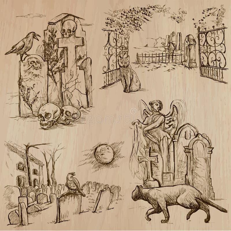 Хеллоуин, кладбища - нарисованный рукой пакет вектора иллюстрация штока