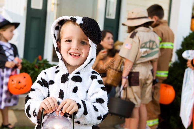 Хеллоуин: Мальчик в костюме собаки держит свет стоковые изображения rf
