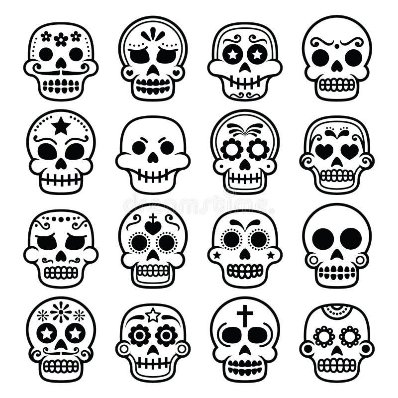 Хеллоуин, мексиканский череп сахара, Dia de los Muertos - значки шаржа иллюстрация штока