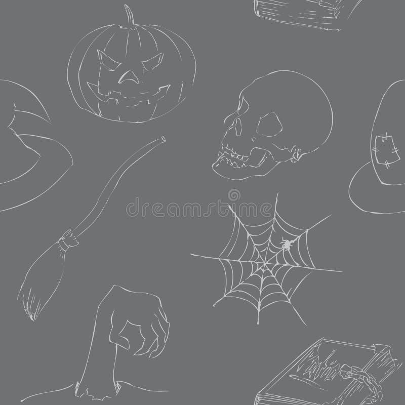 Хеллоуин doodles безшовная картина стоковое фото