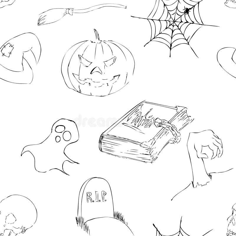 Хеллоуин doodles безшовная картина стоковое изображение rf
