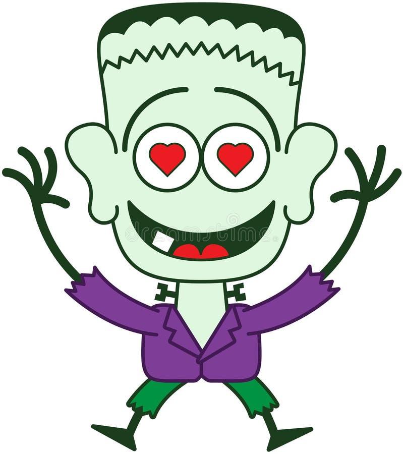 Хеллоуин Frankenstein чувствуя сумашедше в влюбленности бесплатная иллюстрация