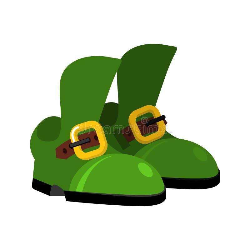 Хелпер Санта Клауса эльфа рождества ботинок Зеленый карлик волшебства ботинок иллюстрация штока