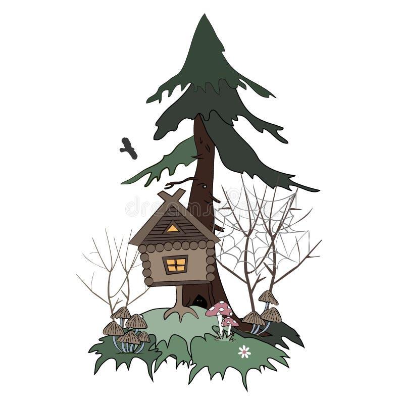 Хижина на куриных ножках идет в туманным иллюстрацию вектора леса болота изолированную мультфильмом Дом славянских сказов бесплатная иллюстрация