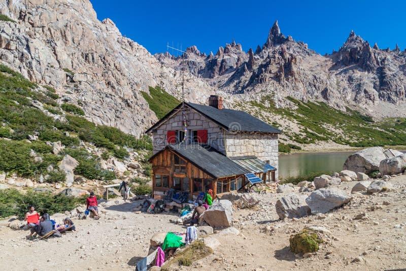 Хижина Refugio Frey горы около Bariloche стоковое фото